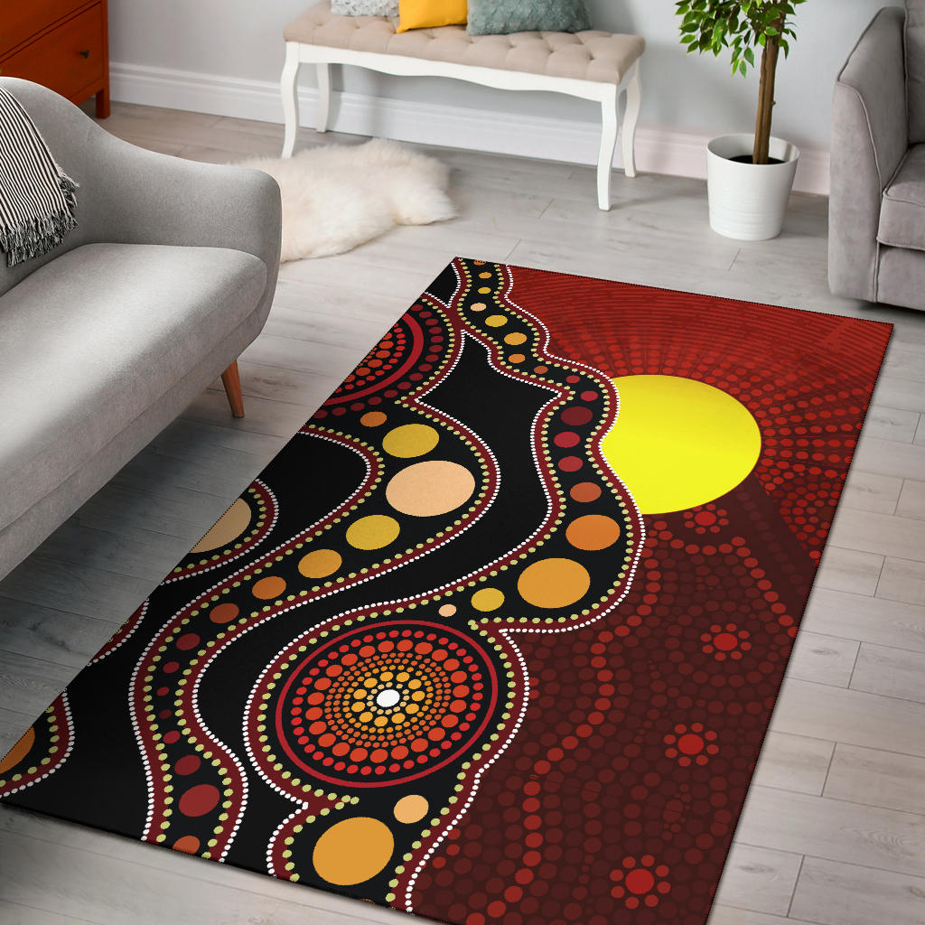 1stAustralia Aboriginal Area Rug - Australia Indigenous Flag Circle Dot Painting Art