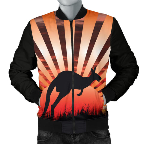Australia Mens Bomber Jacket Kangaroo In The Sunset
