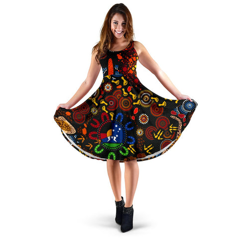 1stAustralia Aboriginal Women's Dress - Indigenous Footprints