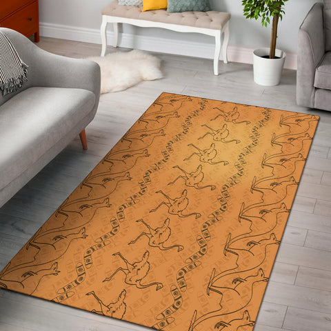 Australia Kangaroo Area Rug - Kangaroo And Ostrich With Boomerang