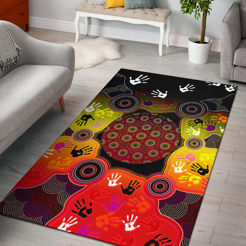 1stAustralia Aboriginal Area Rug, Indigenous Circle Dot Painting Hand Art