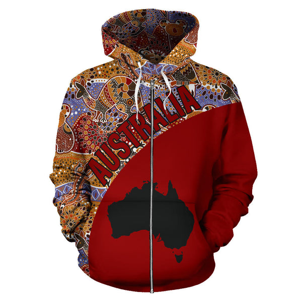 Australia Aboriginal Hoodie (Zip-Up) Pattern Kangaroo Red