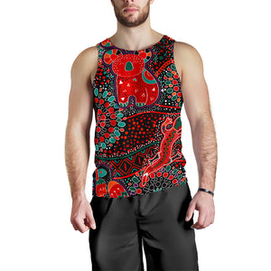 1stAustralia Men's Tank Top - Aboriginal Animal & Dot Acrylic Paint - BN17