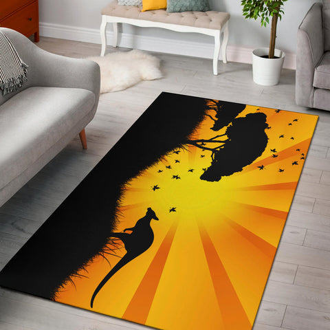 Australia Kangaroo Area Rug - Kangaroo In The Sunset