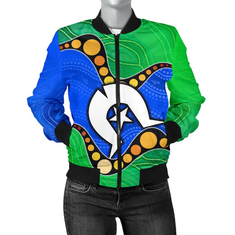1stAustralia Torres Strait Islands Women's Bomber Jacket -  Flag with Aboriginal Patterns