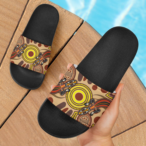 1stAustralia Aboriginal Slide Sandals, Indigenous Lizard Dot Painting Art