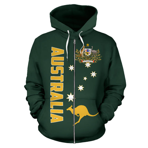 Australia Kangaroo Hoodie (Zip-Up) Coat Of Arms