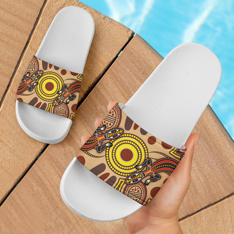 1stAustralia Aboriginal Slide Sandals , Indigenous Lizard Dot Painting Art