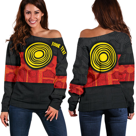 1stAustralia Personalised Aboriginal Women's Off Shoulder Sweater - Aussie Indigenous Flag