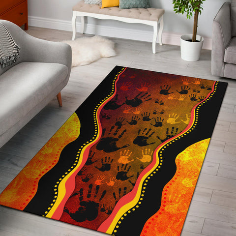 1stAustralia Area Rug, Aboriginal Rock Painting Hand Art Golden Style