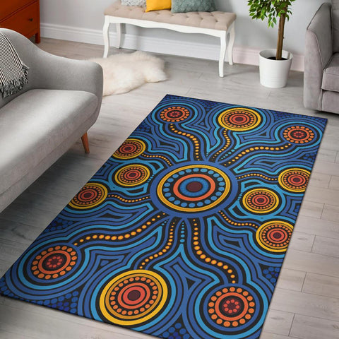 1stAustralia Aboriginal Area Rug - Aboriginal Flower Blue Dot Painting Art