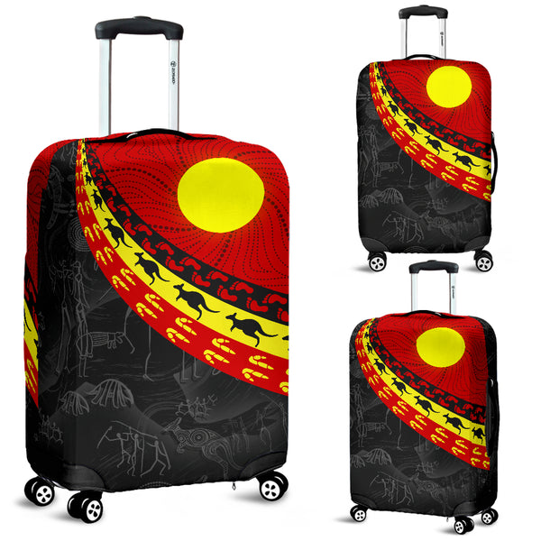 1stAustralia Aboriginal Luggage Covers, Indigenous Flag Circle Dot Painting