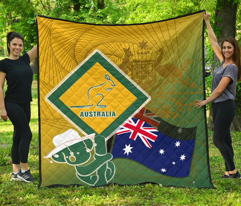 1stAustralia Premium Quilt - Aus Flag and Coat Of Arms Quilt Kangaroo and Koala Sign