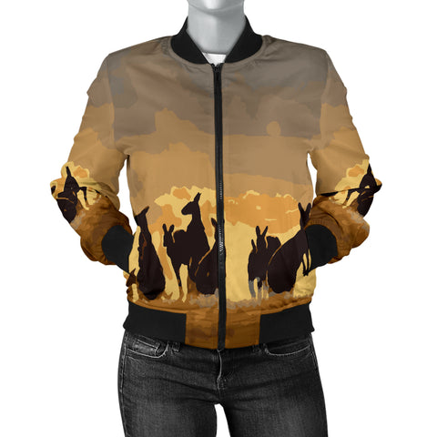 Australia Womens Bomber Jacket Kangaroo Family Sunset
