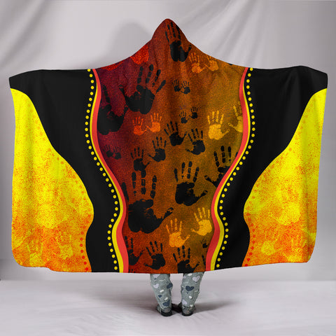 1stAustralia Hooded Blanket, Aboriginal Rock Painting Hand Art Golden Style
