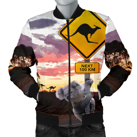 Australia Mens Bomber Jacket Koala With Kangaroo Sign