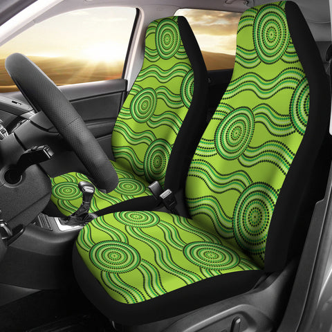 Australia Aboriginal Car Seat Covers Unisersal Fit Green
