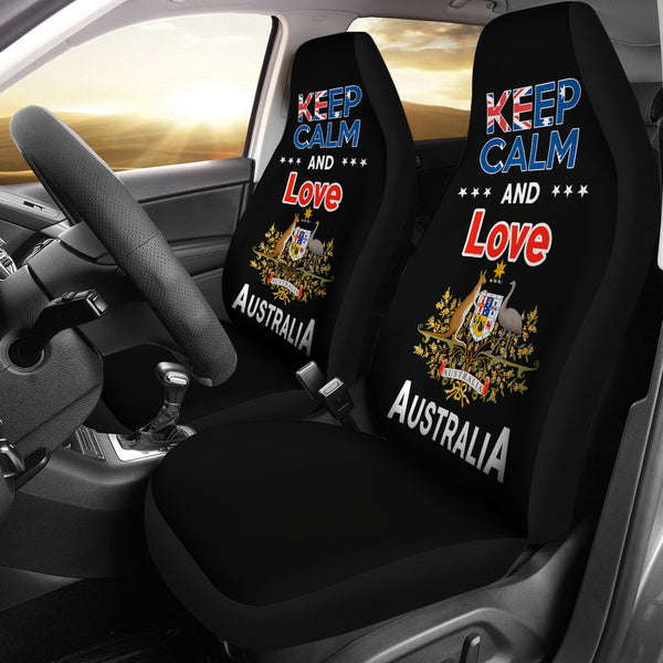 Australia Car Seat Covers Unisersal Fit - Keep Calm And Love Australia Black