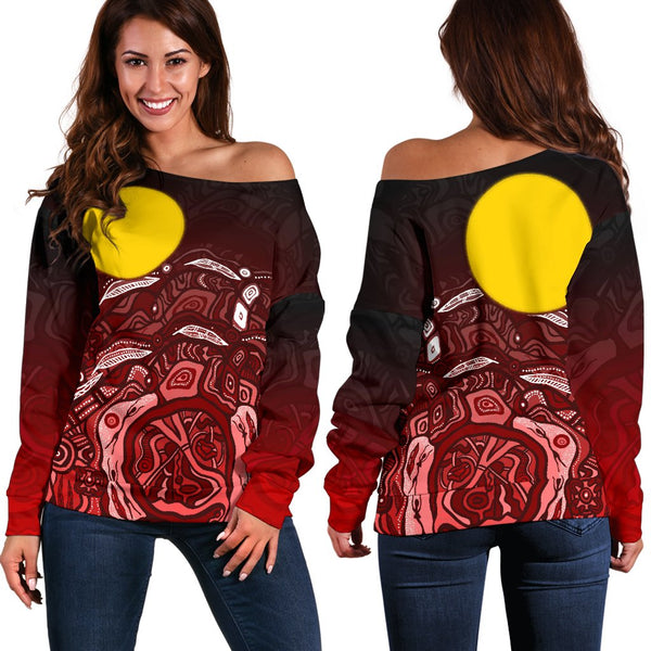 1stAustralia Aboriginal Off Shoulder Sweater - Red Landscape