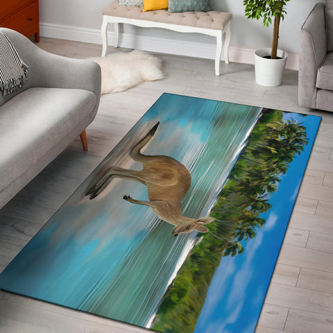 Australia Kangaroo Area Rug On The Beach