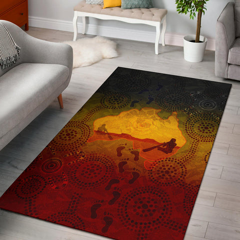 1stAustralia Aboriginal Area Rug, Australian Map with  Indigenous Color