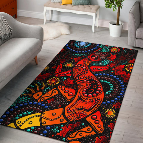 1stAustralia Area Rug - Aboriginal Lizard Rug Red Dot Painting