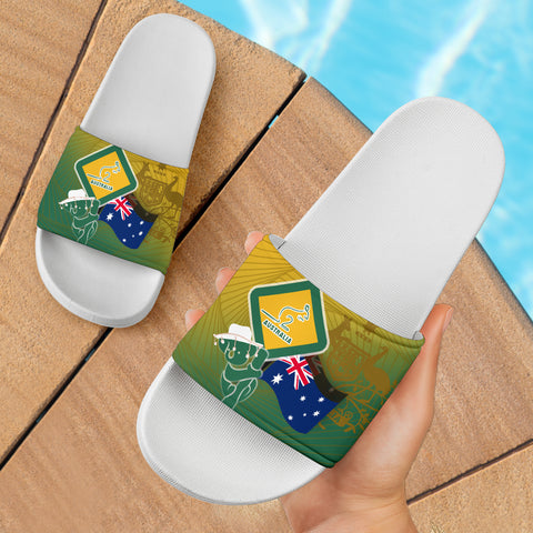 1stAustralia Slide Sandals - Aus Flag and Coat Of Arms Bag Kangaroo and Koala Sign - Ver 01