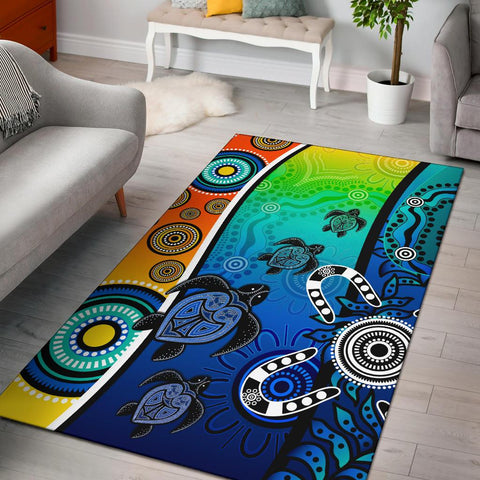 1stAustralia Aboriginal Area Rug - Indigenous Turtle Dot Painting Art