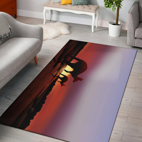 Australia Kangaroo Area Rug - Kangaroo With Nightfall