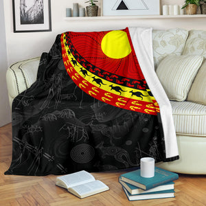 1stAustralia Aboriginal Premium Blanket, Indigenous Flag Circle Dot Painting