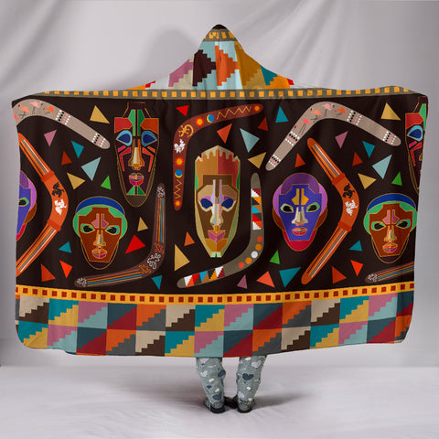 Image of Australia Hooded Blanket Aboriginal Boomerangs With Masks