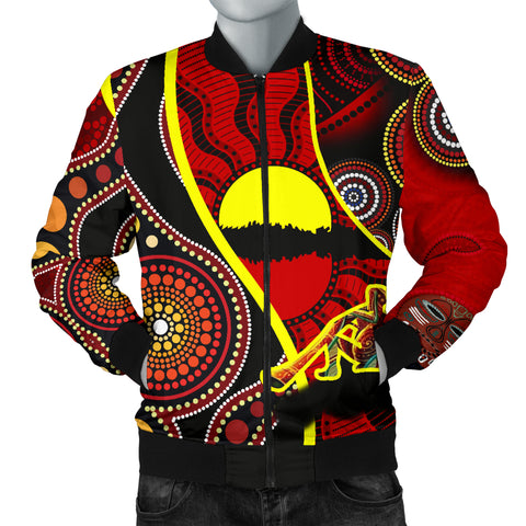 1stAustralia Bomber Jacket - Australia Aboriginal Dots With Didgeridoo - BN19