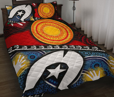 1sAustralia Quilt Bed Set - Australian NAIDOC Aboriginal and Torres Strait Island Flags - BN19