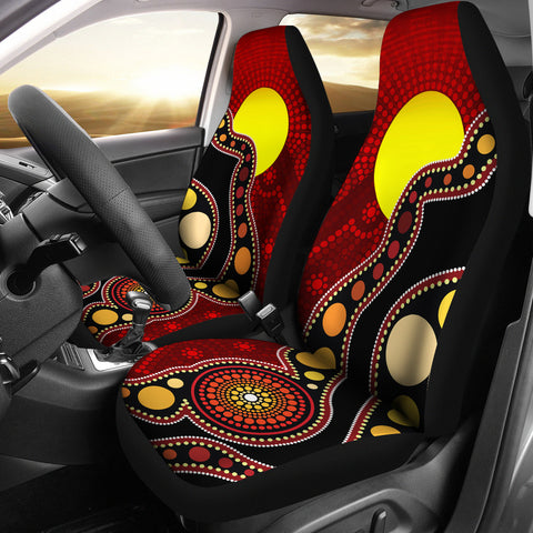 1stAustralia Aboriginal Car Covers, Australia Indigenous Flag Circle Dot Painting Art Seat Covers