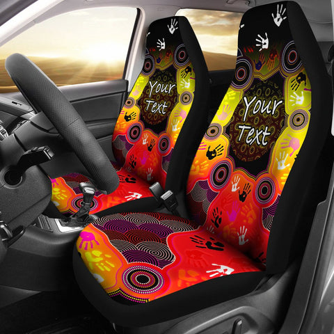 [Custom] 1stAustralia Aboriginal Car Seat Covers, Indigenous Circle Dot Painting Hand Art