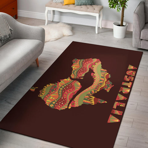 Australia Area Rug Kangaroo In Map With Aboriginal Pattern