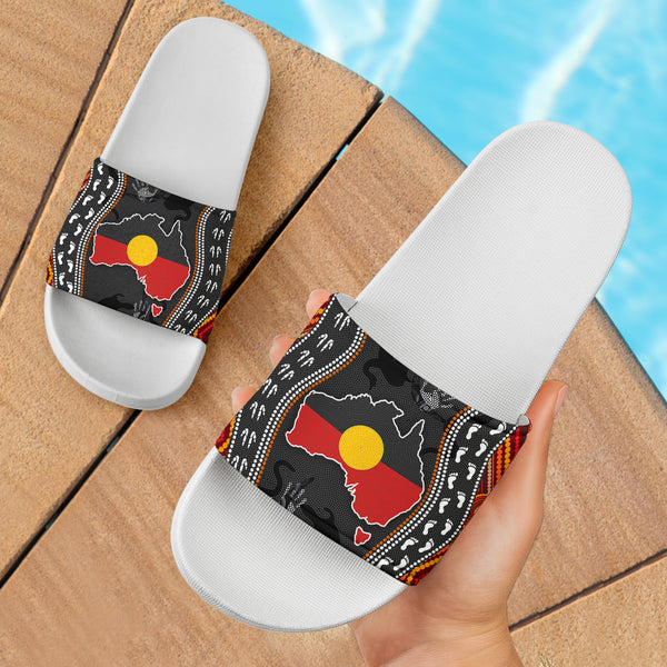 1stAustralia Aboriginal Slide Sandals - Australia Indigenous Map - Ver 01