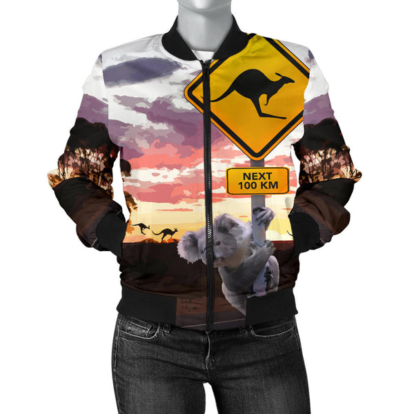 Australia Womens Bomber Jacket Koala With Kangaroo Sign
