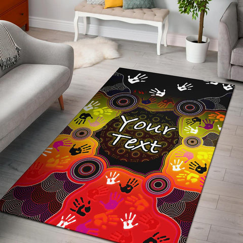 [Custom] 1stAustralia Aboriginal Area Rug, Indigenous Circle Dot Painting Hand Art