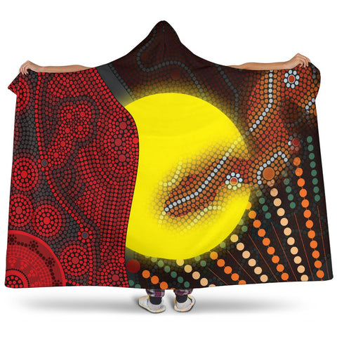 1stAustralia Aboriginal  Hooded Blanket - Indigenous Snake Sun Dot Painting