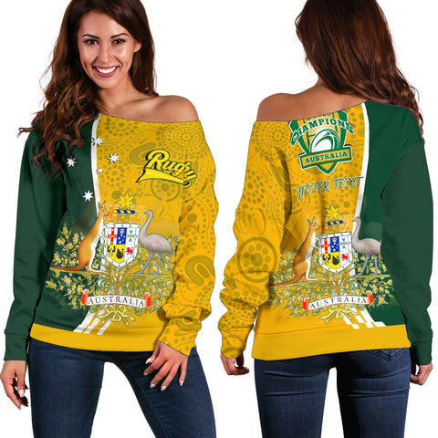 1stAustralia Personalised Women's Off Shoulder Sweater - Australia Coat Of Arm In Rugby Style