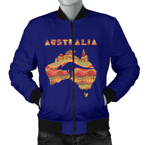 Australia Mens Bomber Jacket Aboriginal Map With Kangaroo