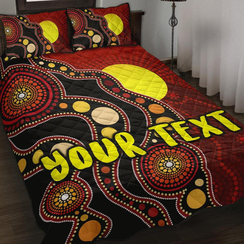 [Custom] 1stAustralia Quilt Bed Set Australia Indigenous Flag Circle Dot Painting Art Quilt Set Cover