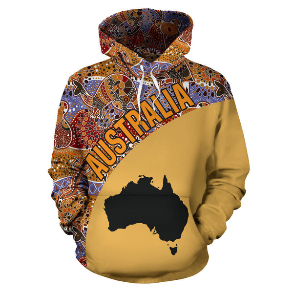 Australia Hoodie Aboriginal Wave Map Special TH95