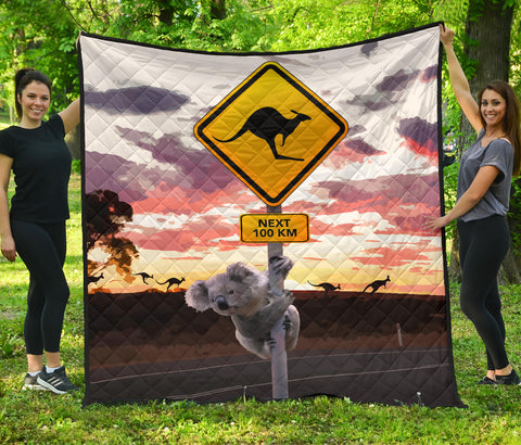 Australia Premium Quilt Koala And Kangaroo Sign