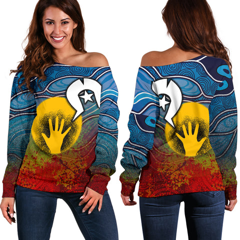 1stAustralia Aboriginal Women's Off Shoulder Sweater - Aboriginal and Torres Strait Islanders Flag