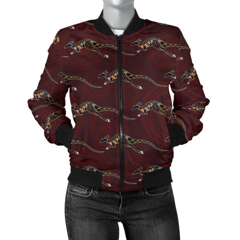 Image of Australia Womens Bomber Jacket Aboriginal Kangaroo