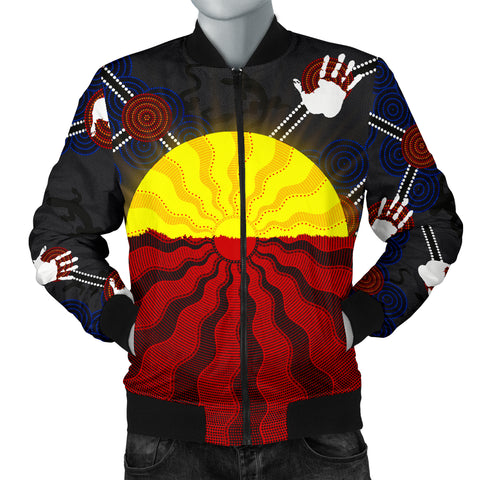 1stAustralia Aboriginal Men's Bomber Jacket, Australia Indigenous Flag Sun Dot Painting