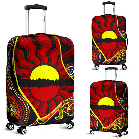 1stAustralia Luggage Cover - Australia Aboriginal Dots With Didgeridoo - BN19