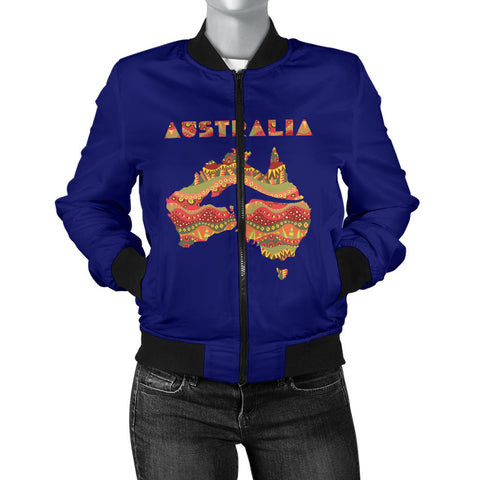 Australia Womens Bomber Jacket Aboriginal Map With Kangaroo